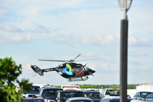 Medical helicopter departs for Lehigh Valley Hospital in Allentown with injured driver Justin Wilson. Sage Karam injured in a crash on August 23rd, 2015, at Pocono Raceway in Long Pond. (Chris Post | lehighvalleylive.com)