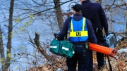 Rescue crews work to gain access to a man who reportedly fell off the Race Street bridge onto the banks of the Lehigh River on Dec. 2, 2016, in Whitehall.