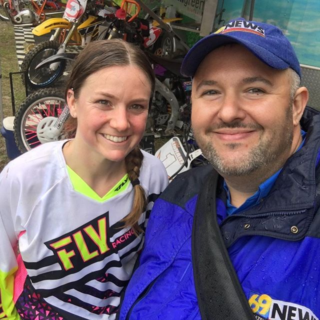 Me and Molly Carbon,  @amapromotocross motorcyclist. On assignment for @69news