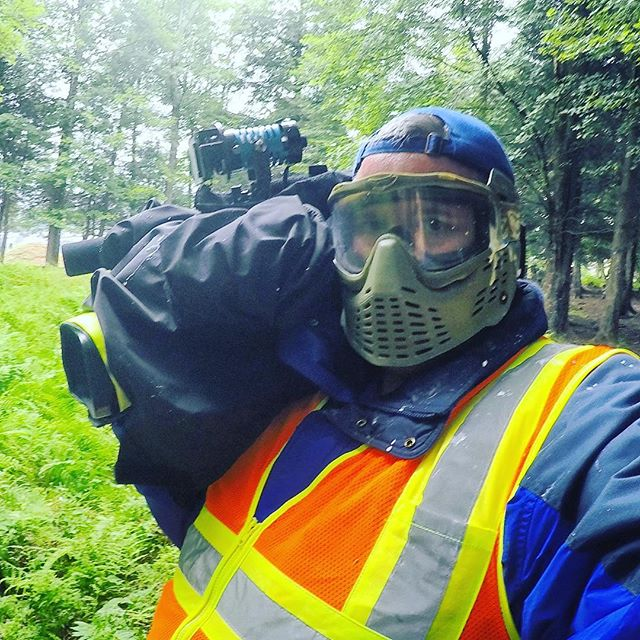 "Protective gear required for today's assignment at @skirmishusapaintball for the ""Invasion of Normandy"" a paintball match with over 4000 players! #wfmz"