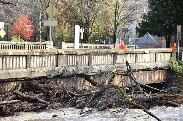 Water Street Bridge closed because of flooding.