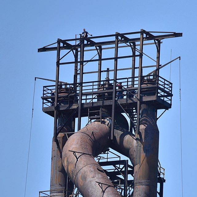 A man has been perched high above the ground on top of the former Bethlehem Steel blast furnace since 7pm Friday evening. He refuses to come down.