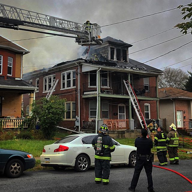 Firefighters battle a stubborn fire in an apartment building on Ann Street in Easton's south side.