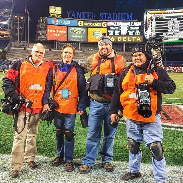 Five years ago with this fine crew of photojournalists covering the 150th meeting of @lehighu and @lafayettecollege football teams.